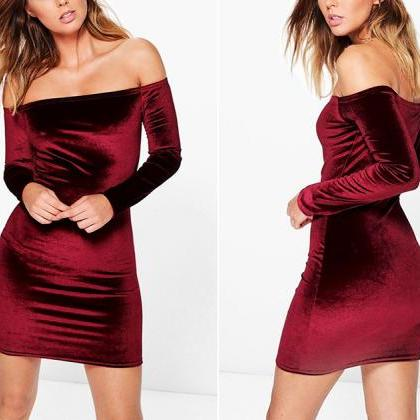 Velvet Off-The-Shoulder Long Sleeve..