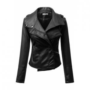 Black Faux Leather Moto Jacket with..
