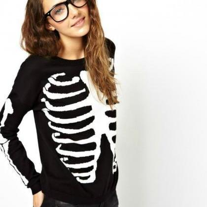 Europe Fashion Womens Bones Knit Ju..