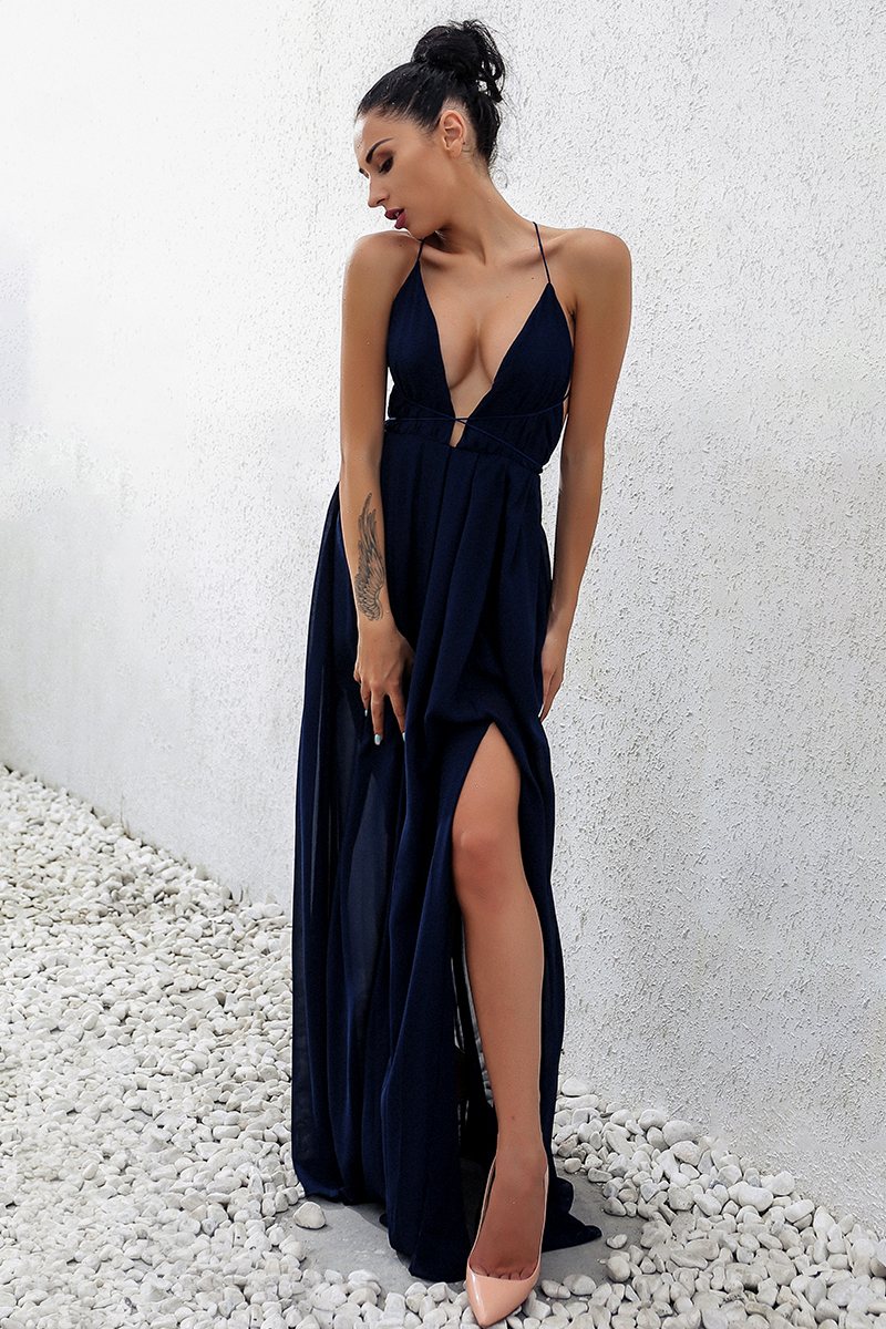 New Fashion Sling Bandage Maxi long Dress Women Dess robe