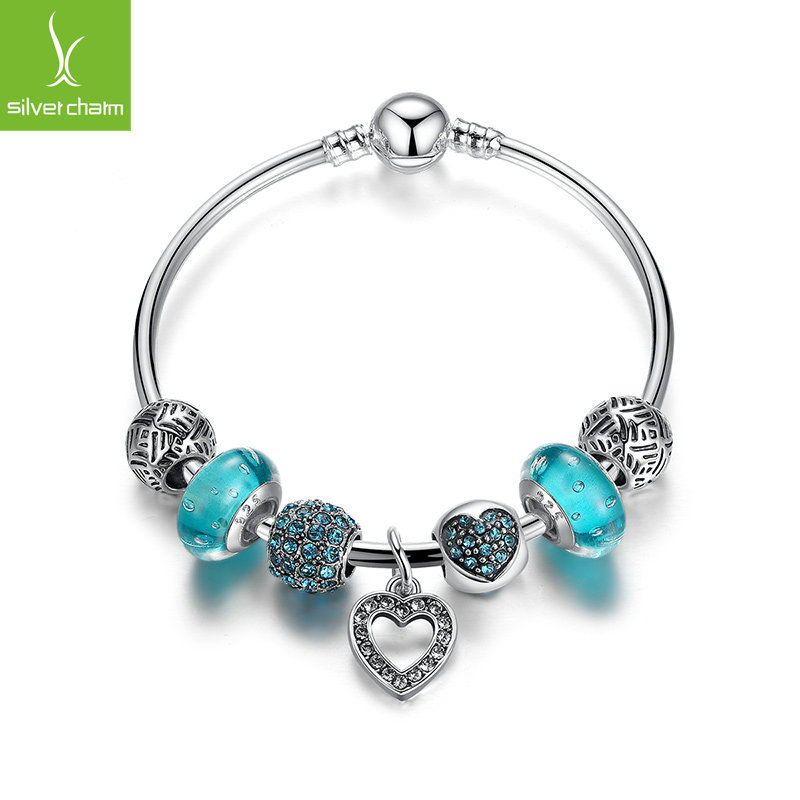 Silver Love Heart Dangle Charm Bangles With Blue Charm Bead Jewelry