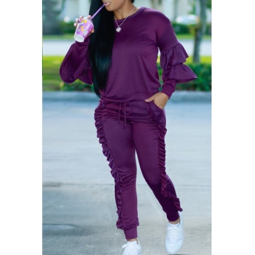 Fashionable Round Neck Ruched Purple Blending Two-piece Pants Set