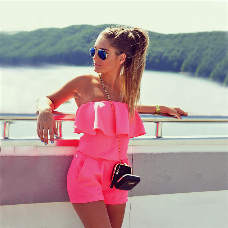 Summer Women Fashion Casual Ruffles Strapless Waist Tightening Candy Color Rompers