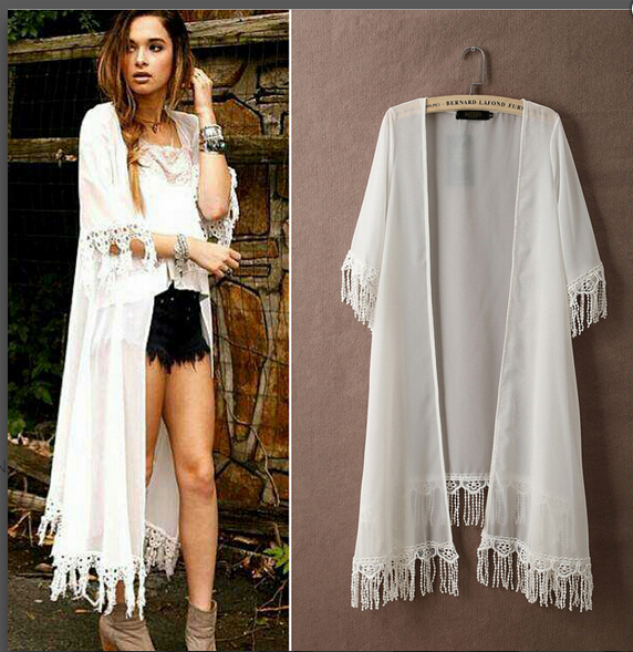 Cheap Fashion Half Sleeves Tassels Design White Lace Long Cardigan ...