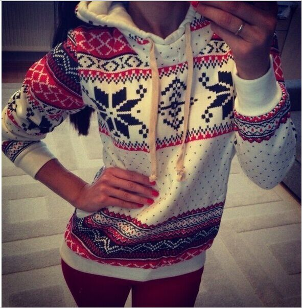 Women Warm Hoodie Tops Snowflake Sweatshirt christmas Sweater Pullover Outerwear