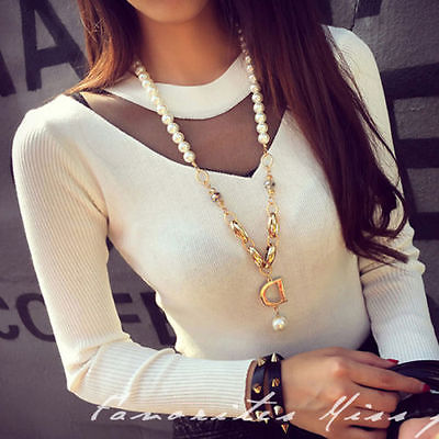 Fashion Womens Ladies V Neck Long Sleeve Tops New SlimT-shirt Blouse