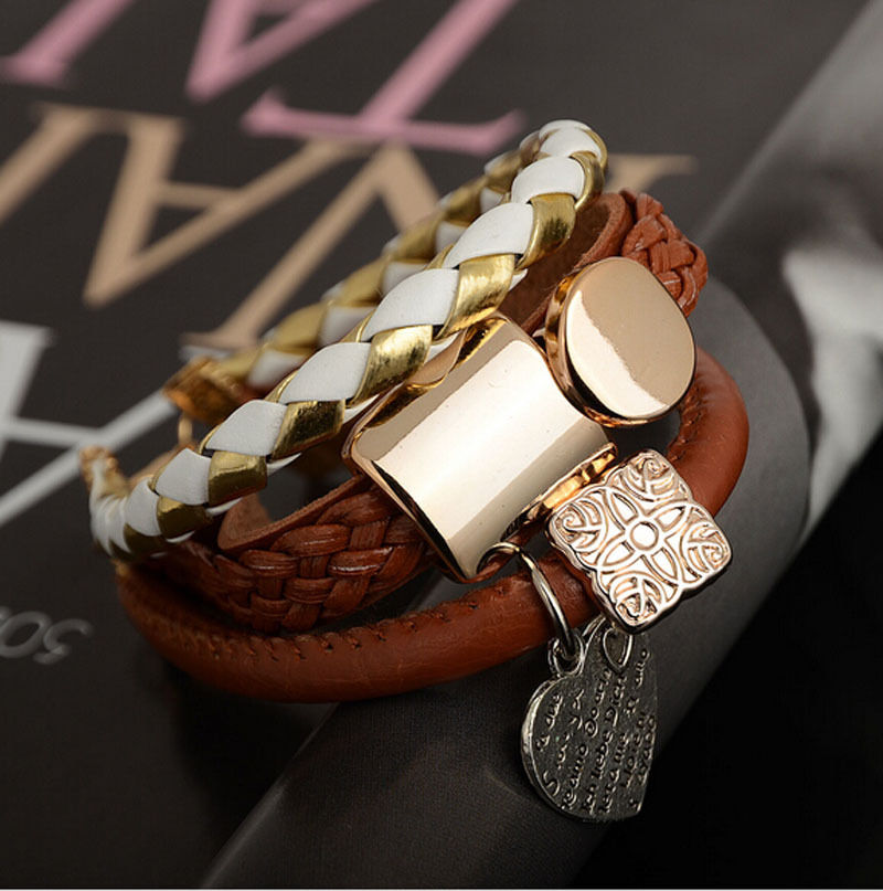 Fashion Bracelet Jewelry Leather Infinity Charm Cuff Bangle Wrap Womens Gift FS