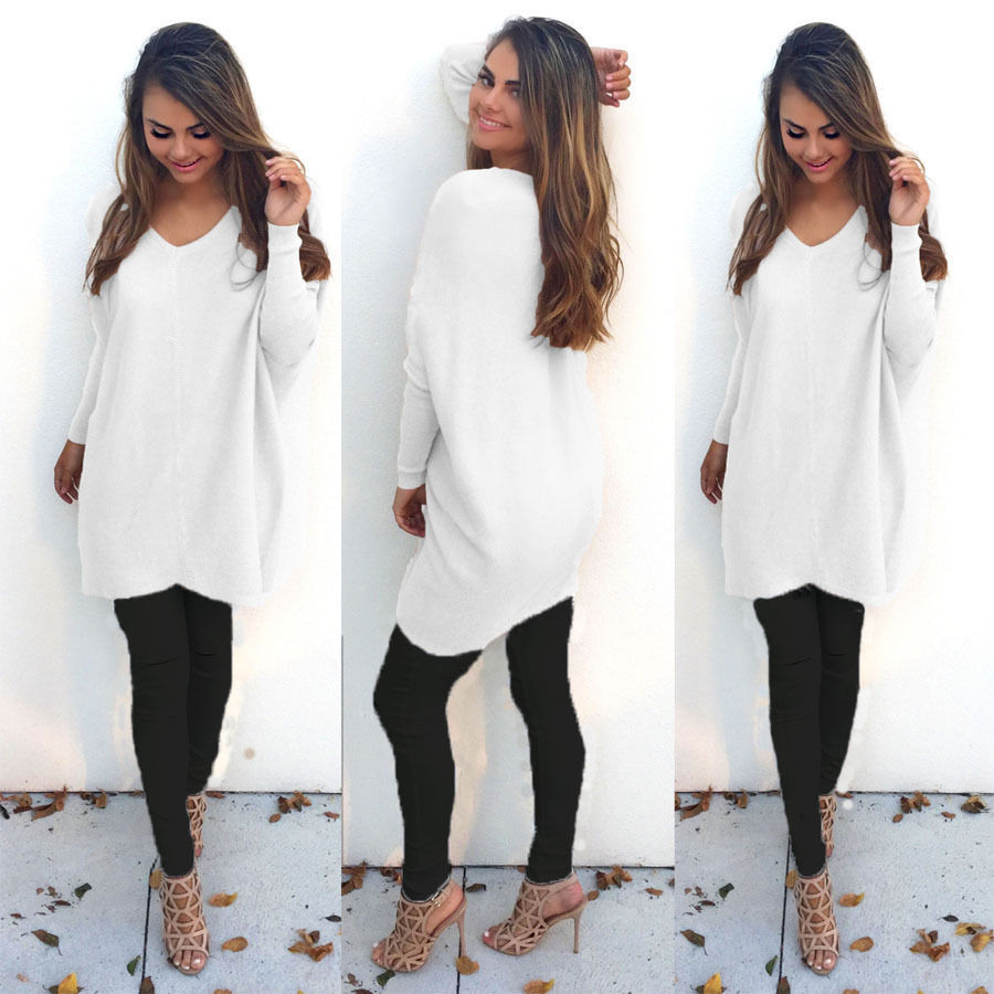 a1b4e276b3 White maxi Casual Long Sleeve Knitted Pullover Loose Sweater Jumper Tops  Knitwear