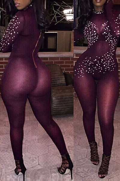 bfceee85b4dcc Sexy Turtleneck Long Sleeves Rhinestone Decorative Wine Red Gauze One-piece  Jumpsuits