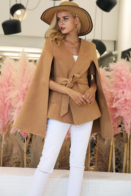 Elegant v neck winter cape coat