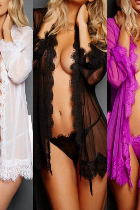 Sexy Lingerie Nightwear Underwear G-string Babydoll Sleepwear Robe Dress