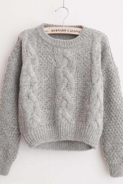 Women Sweaters Warm Pullover and Jumpers Crewneck Mohair Pullover Twist Pull Jumpers