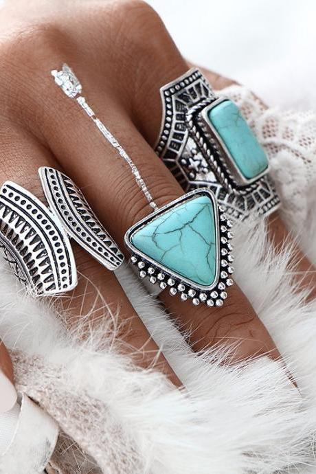 3pcs/Set Boho Vintage Punk Silver Color Stone Midi Finger Rings