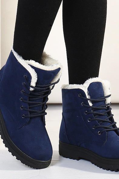 Blue winter boots warm snow boots fashion heels ankle boots for women shoes