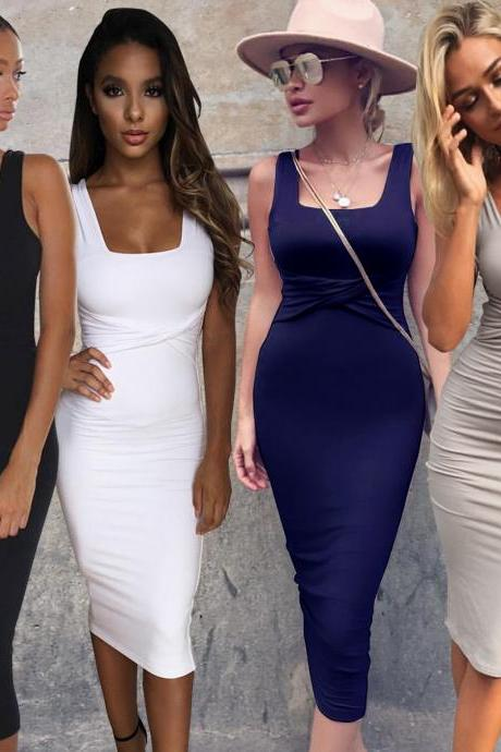 Women Sexy Sleeveless White Tank Bodycon Dress Cross Criss Cotton Blend Club Party Slim Dresses vestidos Black Dress