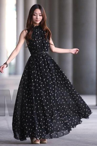 Women's polka dots Maxi dress long Casual Summer Beach Chiffon Party Dresses style cheap vestidos de festa