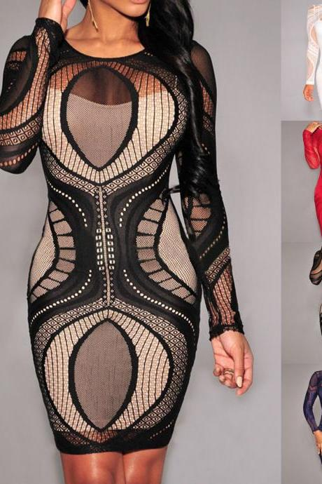 Sexy Bandage Bodycon Summer Evening Cocktail Party Long Sleeve Mini Dress