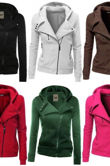 Zipper Tops Hoodie Hooded Sweatshirt Coat Jacket Casual Slim Jumper