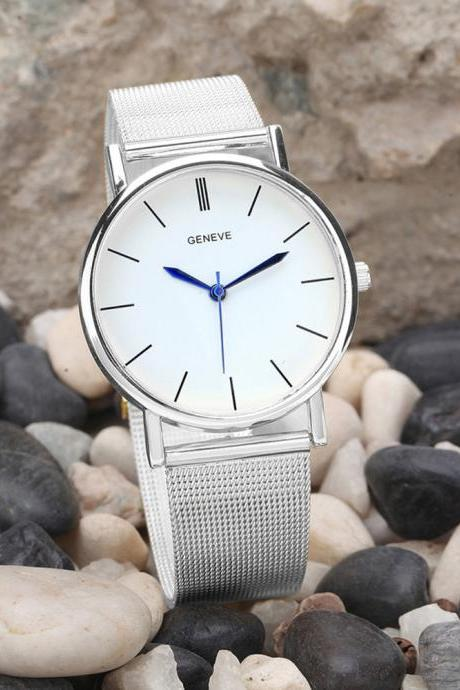 Free Shipping Silver Geneve Women's Watch Stainless Steel Analog Quartz
