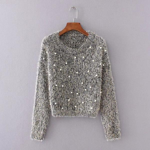 Pearl Embellished Knitted Crew Neck Long Sleeves Sweater