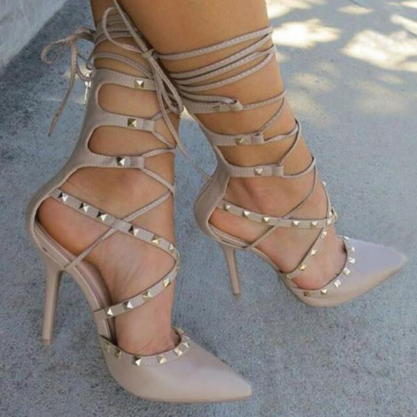 Nude Pointed Toe Lace-Up Studded Stiletto Pumps