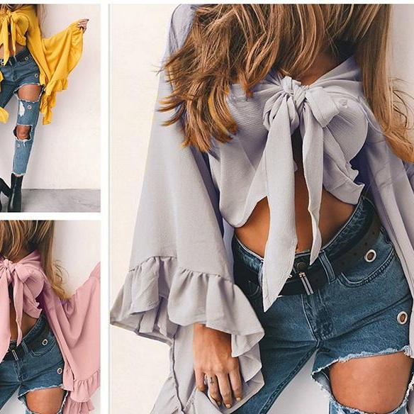 Chiffon Bow Accent Plunge V Long Ruffled Flared Sleeves Crop Top