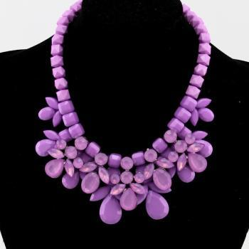Luxury Acrylic Gem Bib Collar Chokers Statement Necklace With Beaded Chain Purple