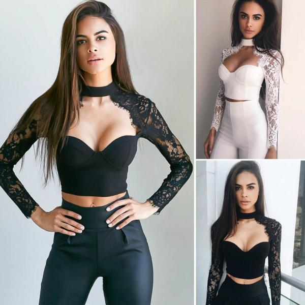 Lace Long Sleeve Crop Tops..