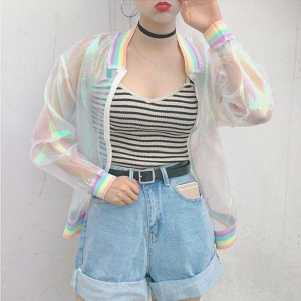 Women Jacket Laser Rainbow..