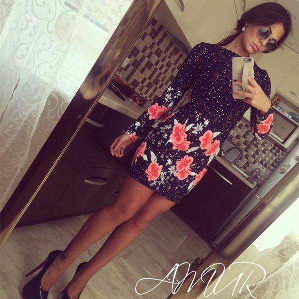 Sexy fashion o-neck printed dress